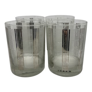 George Briard Linear Pattern Lowball Glasses- S/4 For Sale