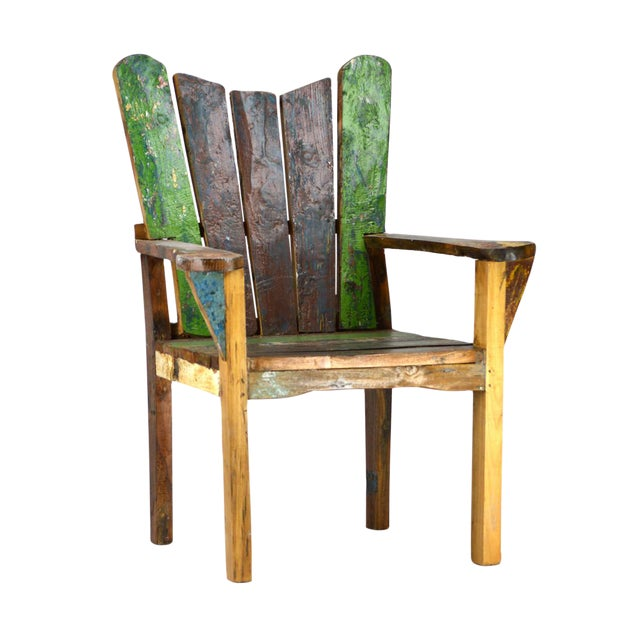 Reclaimed Boat Wood Chair - Image 1 of 2