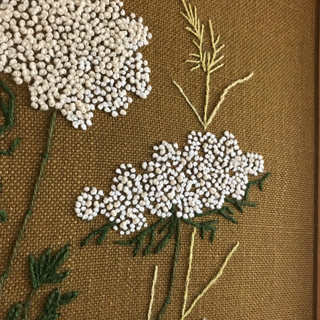 Mid-Century Queen Anne's Lace Framed Crewel Work Textile Art For Sale - Image 4 of 5