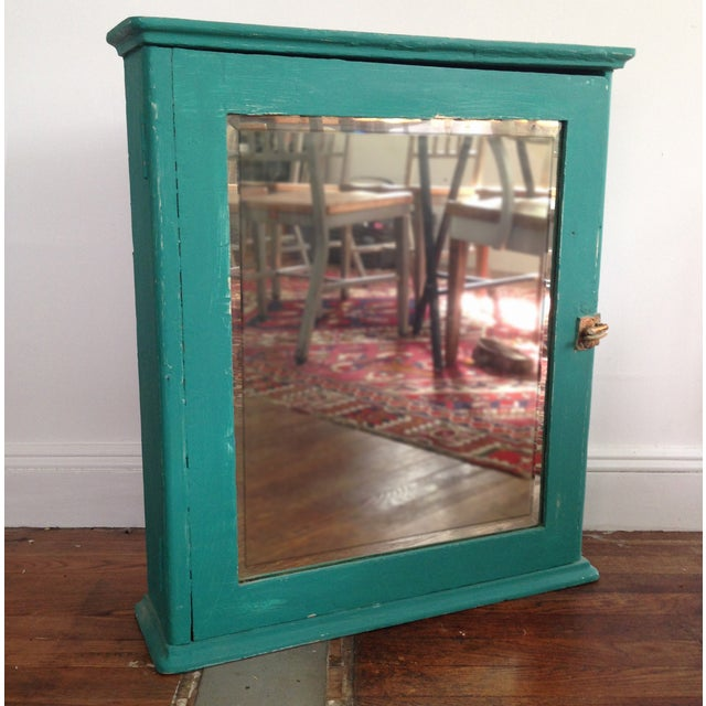 Teal Mirrored Medicine Cabinet, Storage Cabinet - Image 2 of 8