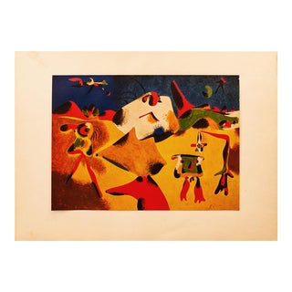"Early 1940s Juan Miró, Original Period Lithograph ""Characters, Mountain, Sky, Star and Birds"" For Sale"
