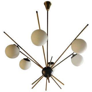 Mid-Century Brass Sputnik Six Opaline Lights Chandelier, Italy 1950s For Sale