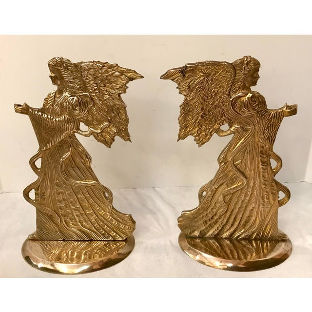 Mid-Century Modern Vintage Brass Angel Candle Holders - a Pair For Sale - Image 3 of 6