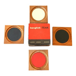 Mid-Century Teak Coasters by Laurids Lønborg, Denmark, From the 1960s, New in Box, Set of 4 For Sale