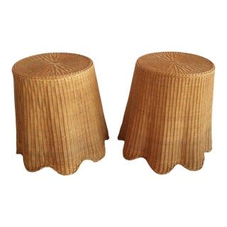 Vintage Tropical Drapped Wicker Rattan Side Tables - a Pair