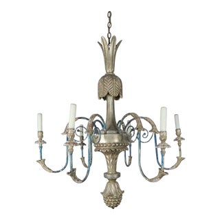 Italian Style Carved Silvered and Painted Chandelier For Sale