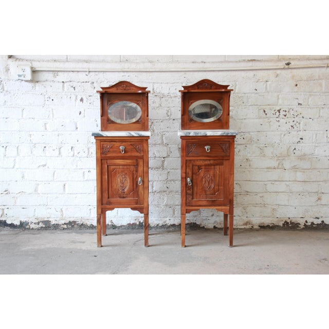 Victorian Walnut & Marble Nightstands - a Pair - Image 2 of 11