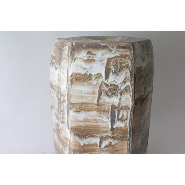 """The garden stool is shown with our #6188 Drip glaze. Handmade. Signed by Paul Schneider. Lead time five weeks. 20.5""""H x..."""