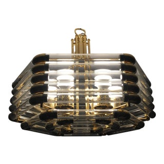Brass and Lucite Hexagonal Lighting Fixture