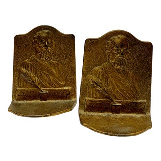 Mid 19th Century Cast Iron Bookends of American Poet Henry Wadsworth Longfellow - a Pair For Sale