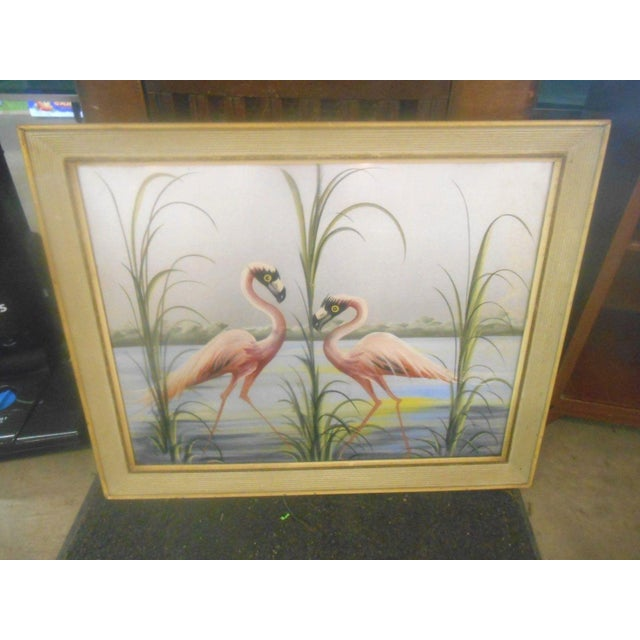 Beautiful Vintage 1950's RETRO Pink Flamingos Hand Painted Wall Art. (Not a Mirror). This print looks to be hand painted...