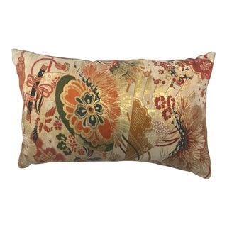 Vintage Japanese Obi Silk Embroidered Pillow For Sale