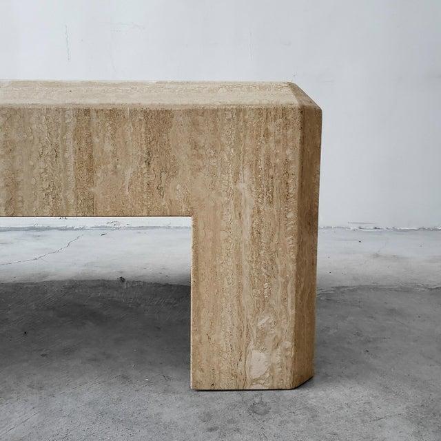 Rectangular Post-Modern Italian Travertine Coffee Table For Sale In Las Vegas - Image 6 of 8