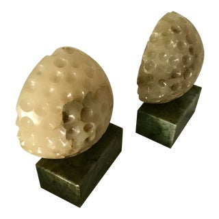 Mid Century Italian Alabaster Golf Ball Bookends - a Pair For Sale