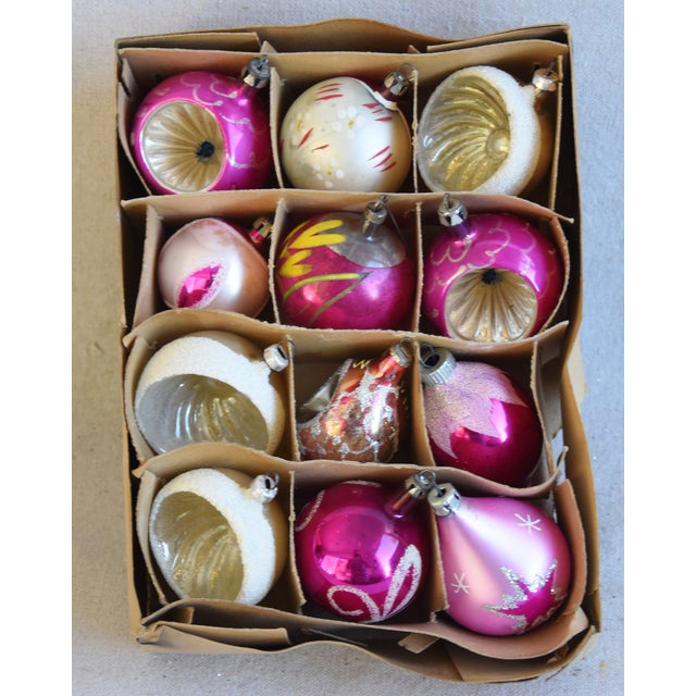 Adirondack Pretty Vintage Pastel Christmas Tree Ornaments W/Box - Set of 12 For Sale - Image 3 of 9