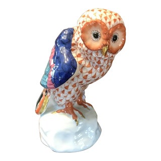 Herend Hand Painted Fishnet Owl Figurine For Sale