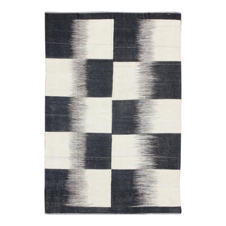 Kilim Rug With Black, White, Large Block and Checkerboard Design For Sale