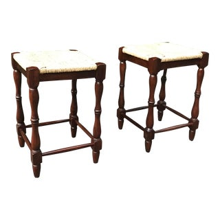 French Country Rush Seat Counter Stools - a Pair For Sale