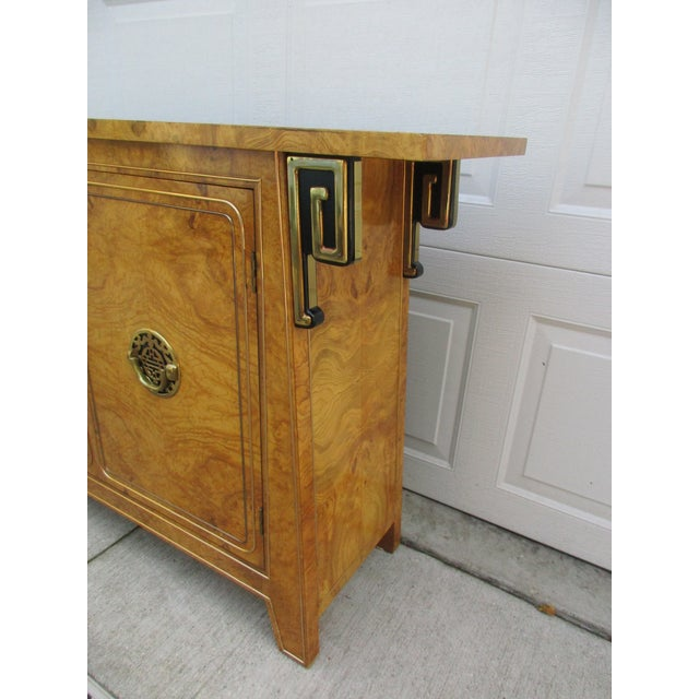 Burlwood and Brass Console Cabinet -Attributed to Mastercraft For Sale - Image 6 of 12