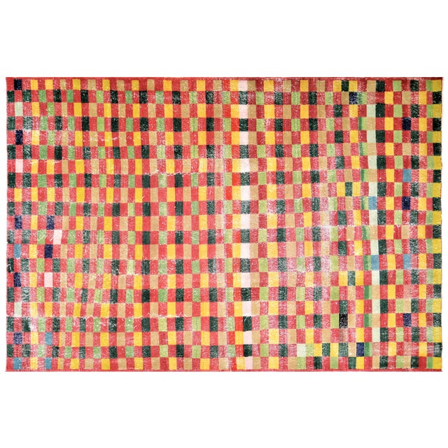 """Textile Vintage Turkish Anatolian Art Deco Hand Knotted Organic Wool Fine Weave Rug,7'1""""x10'7"""" For Sale - Image 7 of 7"""