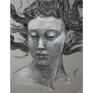 """Sarah Myers """"Woman With Flying Hair"""" Charcoal Drawing For Sale"""