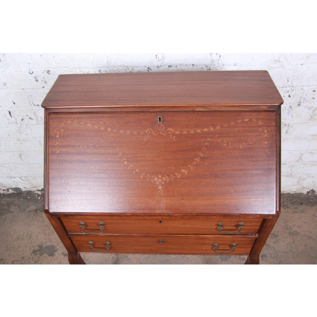 French Louis XV Style Mahogany Drop-Front Secretary Desk With Mother Of Pearl Inlay For Sale - Image 4 of 13