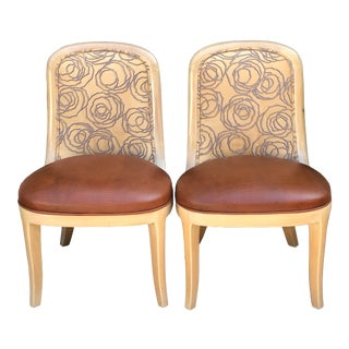 Vintage Signed Donghia Modern Designer Side Chairs Lizard Leather Seats - a Pair For Sale