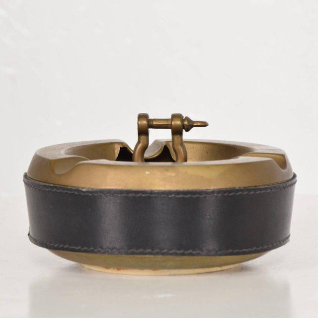 Animal Skin Hermes Style Brass and Leather Ashtray, Italy, 1960s For Sale - Image 7 of 8