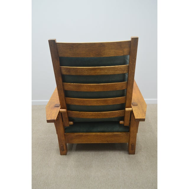Late 20th Century Stickley Oak Mission Morris Chair W/ Ottoman For Sale - Image 5 of 13
