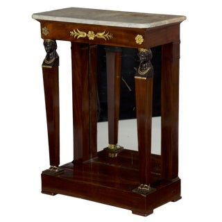 19th Century French Egyptian Revival Pier Table W/ Marble Top For Sale