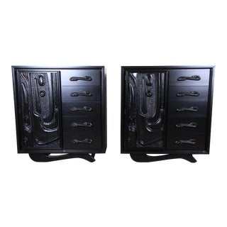 Witco Oceanic Style Black Lacquered Sculptural Tiki Gentleman's Chests by Pulaski, Two Available For Sale