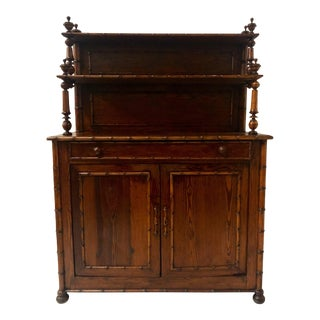 French Faux Bamboo Pine Cabinet For Sale