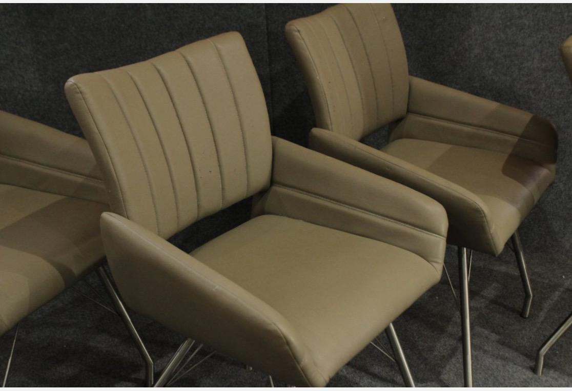 1970u0027s Modern Italian Leather Chairs W/ Chrome Hairpin Style Legs   Set Of  4