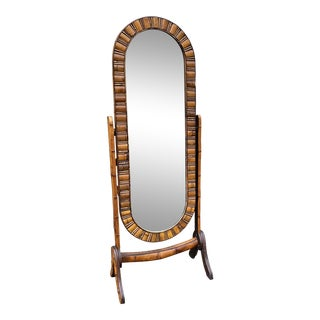 1970s Bamboo Tilting Stand Up Mirror** For Sale