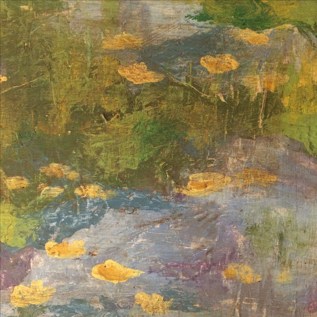Impressionist Lily Pad Painting - Image 5 of 8