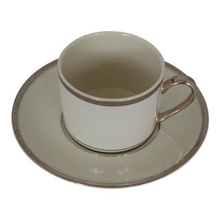 Elegant Fine China Ivory & Platinum Tea Cup For Sale