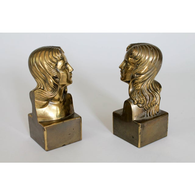 """Pair of brass female bust bookends. They are signed """"H. W. Hahn"""". Some patina."""