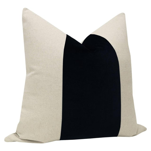 "Contemporary 22"" Contemporary Ebony Velvet Panel & Linen Pillows - a Pair For Sale - Image 3 of 6"