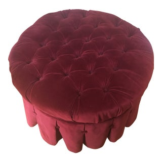 Early 21st Century Ethan Allen Burgundy Round Tufted Ottoman For Sale