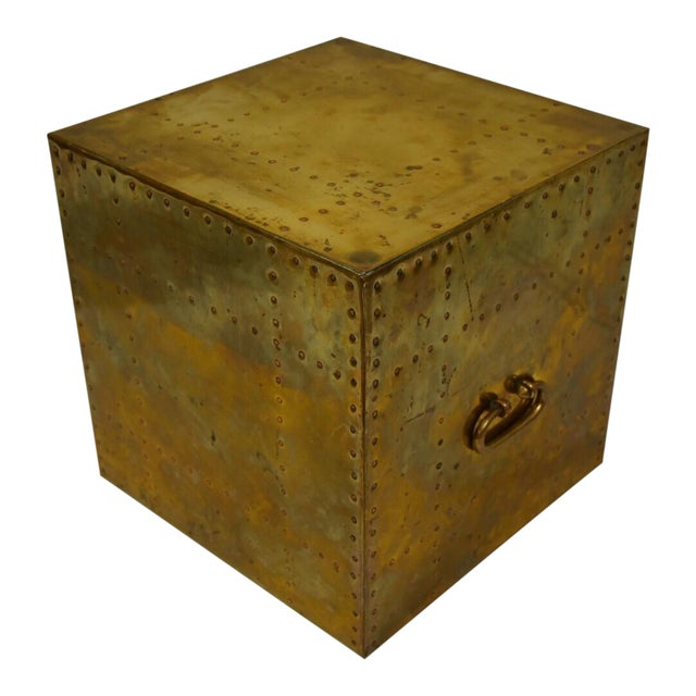 Sarreid Brass Cube End Table - Image 1 of 8