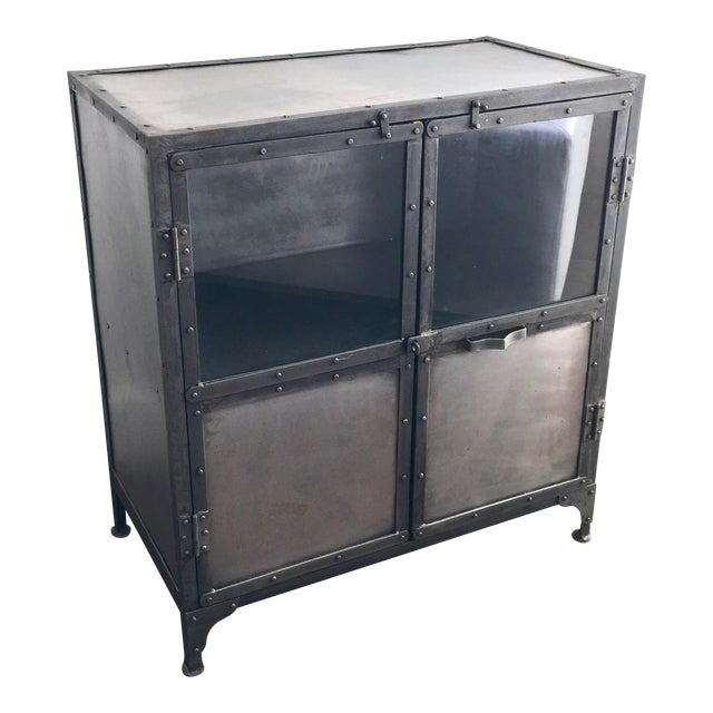 Industrial Antiqued Metal Cabinet - Image 1 of 9