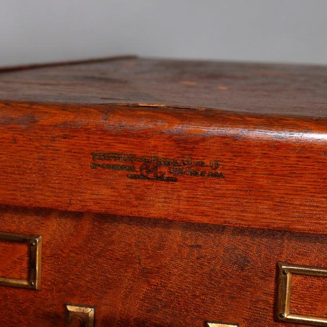 Arts & Crafts Antique Arts & Crafts Paneled Oak 10-Drawer Filing Cabinet, Yawmen & Erbe For Sale - Image 3 of 10