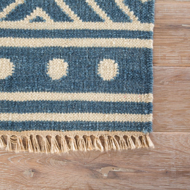 Contemporary Jaipur Living Lahu Handmade Geometric Blue/ White Area Rug - 2′ × 3′ For Sale - Image 3 of 6