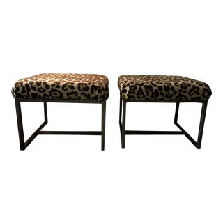 Chenille Chartreuse Green Leopard Upholstered Stool / Side Tables - a Pair For Sale