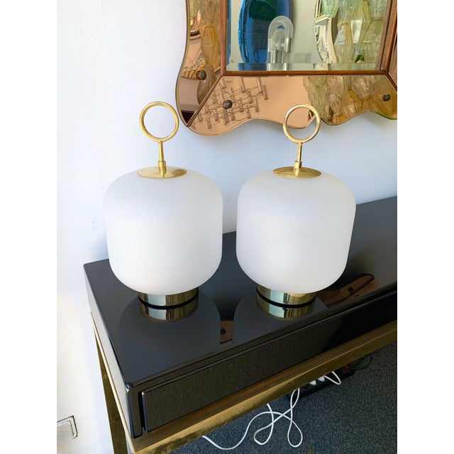 2020s Contemporary Murano Glass Brass Ring Medium Can Lamps - a Pair For Sale - Image 5 of 13
