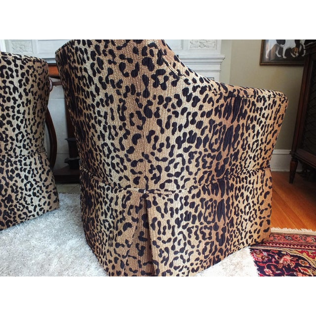 Vintage Leopard Swivel Club Chairs - Pair - Image 9 of 11