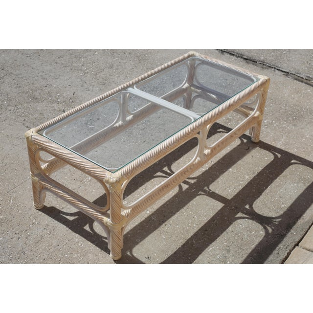 Boho Chic Vintage Twisted Rattan and Leather Glass Top Cocktail Table For Sale - Image 3 of 10