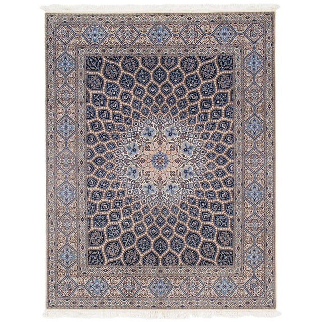 "Pasargad Vintage Persian Nain Silk & Wool Rug - 6'9"" X 8'8"" For Sale"
