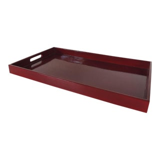 Large Cinnabar Rectangular Lacquered Serving Tray With Handles For Sale
