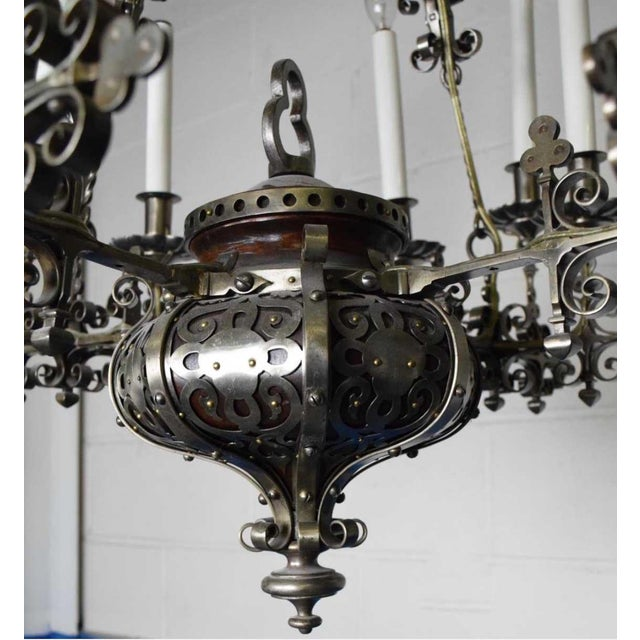 Early 20th Century A Very Fine Continental Renaissance Style Steel Chandelier For Sale - Image 5 of 6